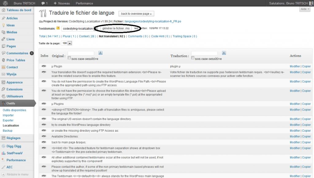 Aperçu de modifier 1 traduction générer le fichier .mo
