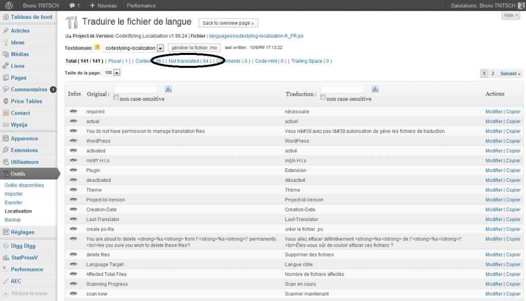 Aperçu de modifier 1 traduction cliquer sur non traduits