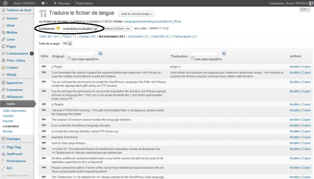 Aperçu de modifier 1 traduction plusieurs textdomains