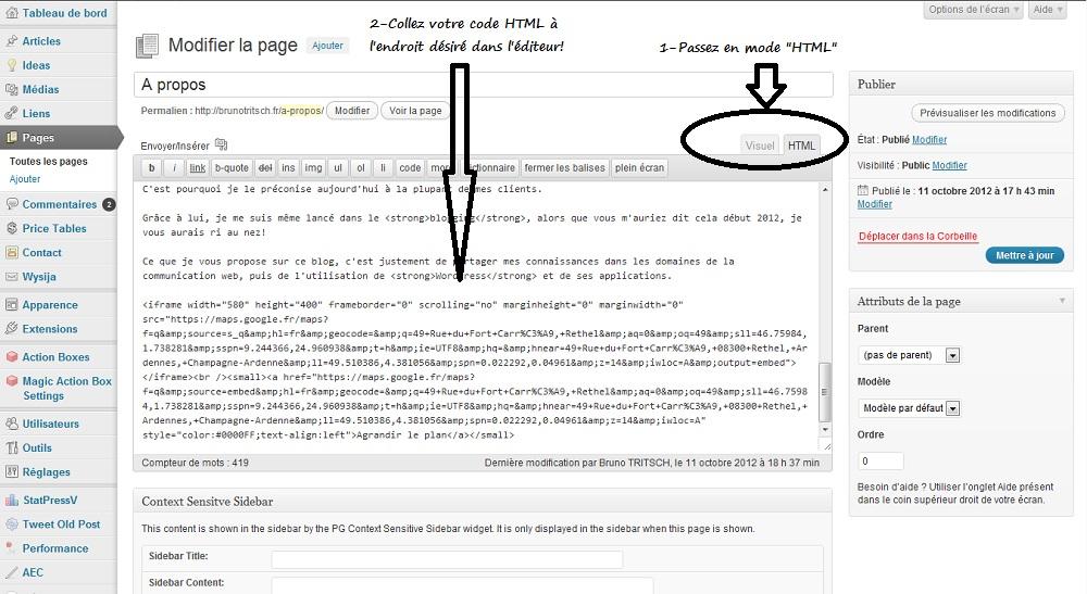 Insérer le code HTML dans l'éditeur!