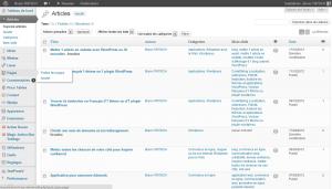 Liste des articles dans l'administration WordPress