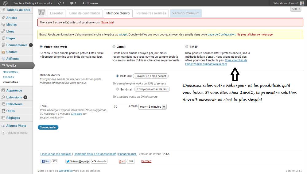 Configurer la Méthode d'envoi de Wysija Newsletter sous WordPress
