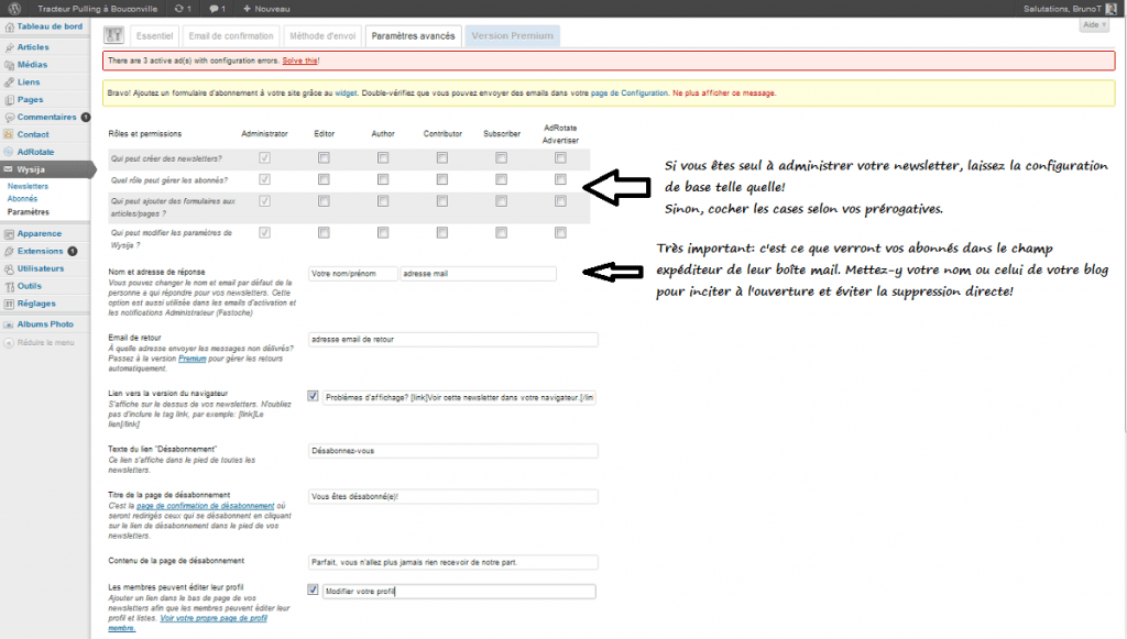 Configurer les Paramètres avancés de Wysija Newsletter sous WordPress