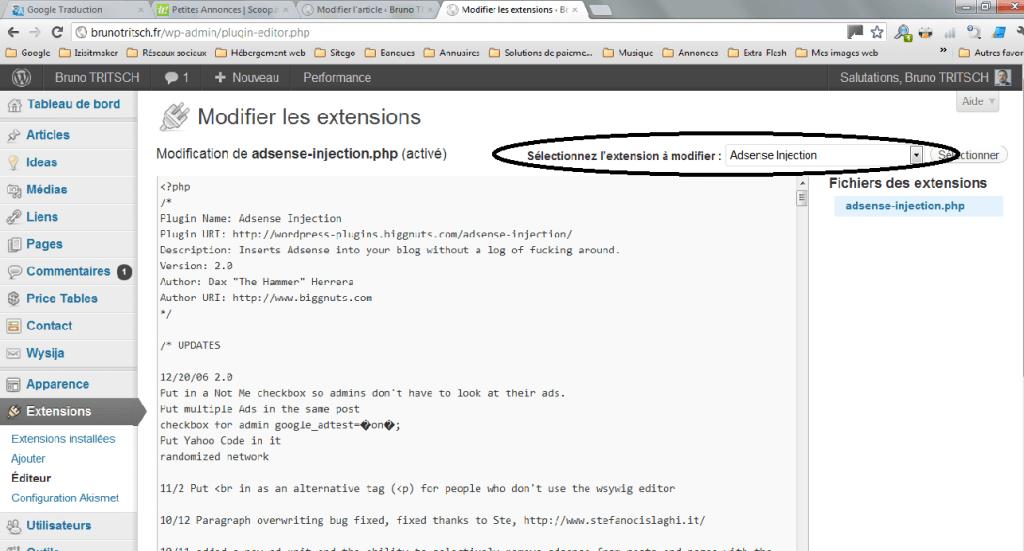 Traduire thème et extensions sélectionner extension