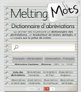 Capture d'écran du site meltingmots