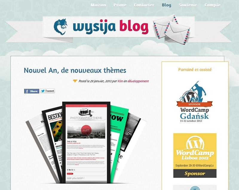 Capture d'écran du site Wysija Newsletters