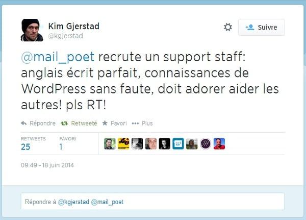 Annonce d'offre d'emploi sur Twitter pour MailPoet