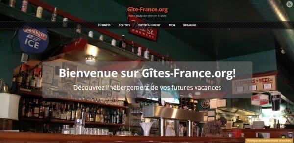 Capture d'écran du guide web Gîte-France.org qui utilise le thème Sunrise pour WordPress, traduit en français par Bruno Tritsch.