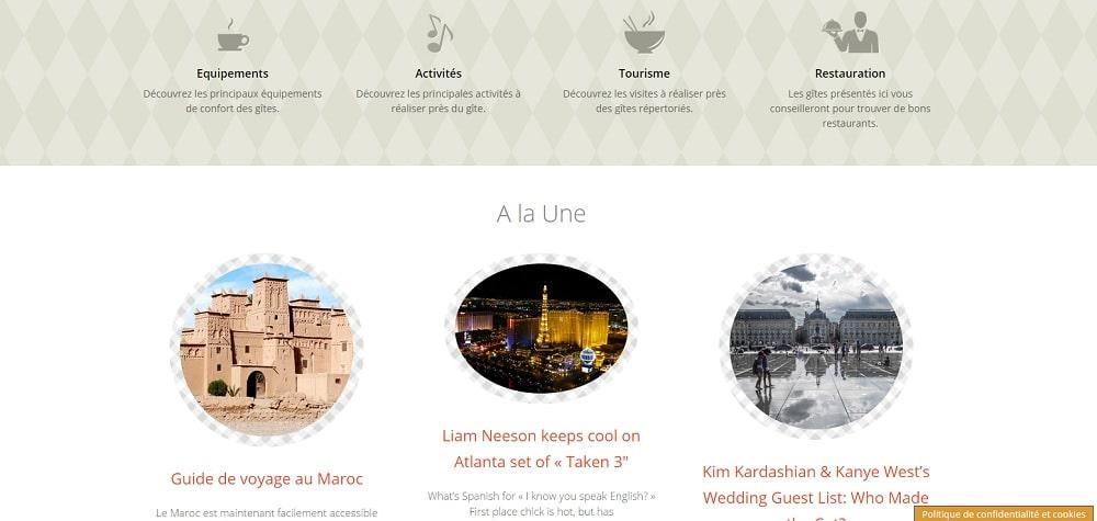 Exemple d'un site utilisant le thème gratuit Sunrise dont je vous offre gratuitement la traduction en français.