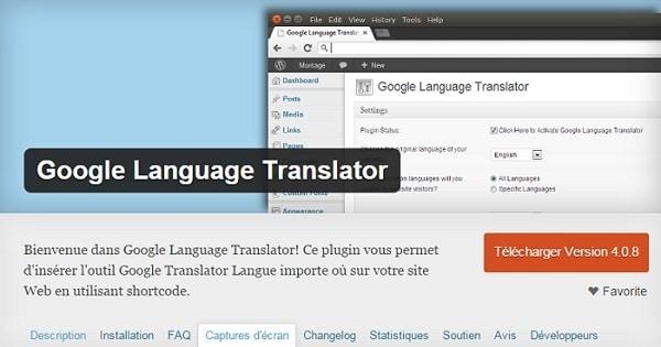 Google Language Translator est un plugin WordPress de traduction automatique de contenu de site.