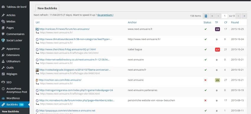 WP Backlinks: plugin gratuit qui liste les liens pointant vers votre site