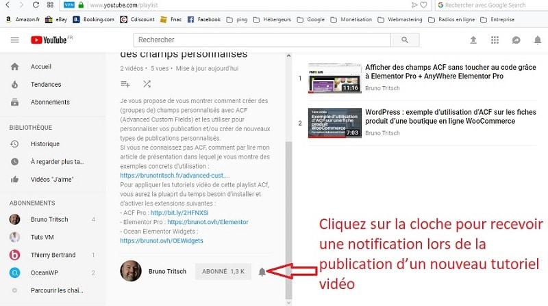 Activer la notification de publication de nouvelles vidéos sur une chaîne YouTube